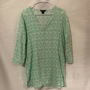 J Crew Large Top Printed Crinkle Tunic